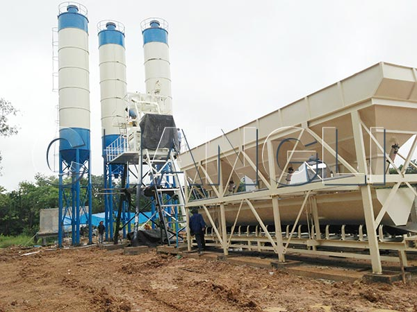 HZS stationary concrete batching plant