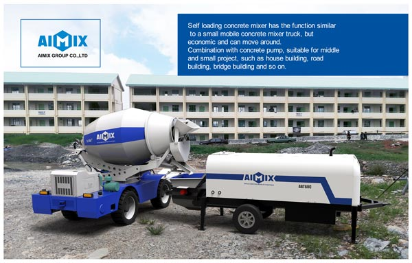 self loading mixer with concrete pump