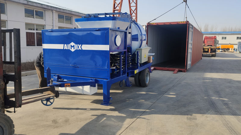 AIMIX ABJZ30C concrete mixer pump loaded